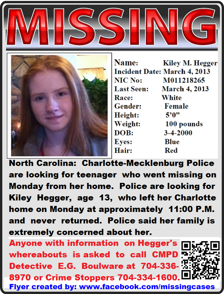 Missing 13 Year Old Boy: Charlotte